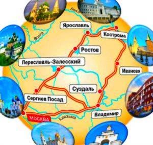 Карта главных городов Золотого кольца